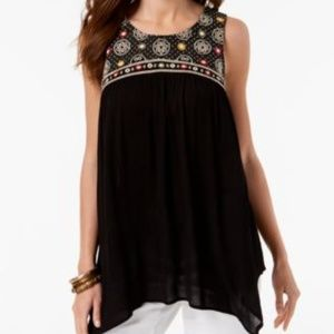 Style & Co Blouse Embroidered Handkerchief-Hem